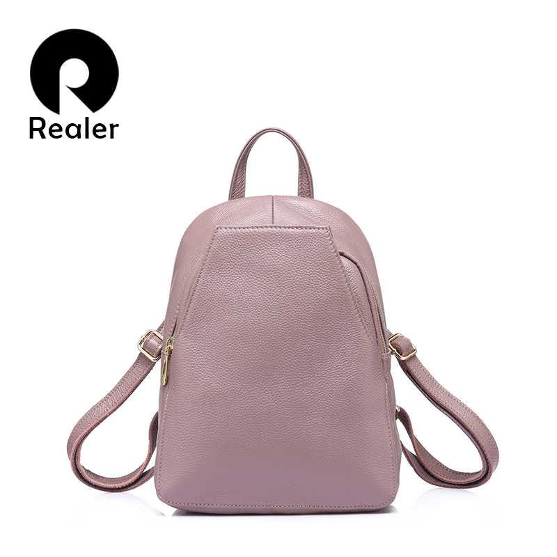 1f93a98cff0a REALER женский модный рюкзак высокого качества из натуральной кожи,  школьный рюкзак для девочек подростков,