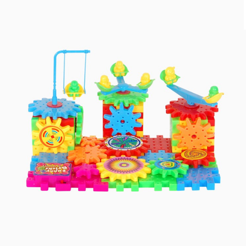 Image 2 - QWZ 81 PCS Electric Gears 3D Model Building Kits Plastic Brick Blocks Educational Toys For Kids Children Gifts-in Blocks from Toys & Hobbies