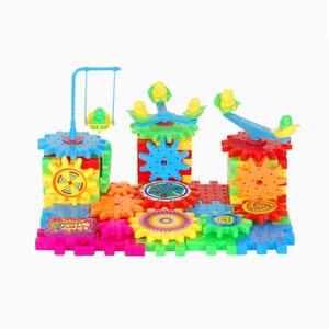 Image 2 - Qwz 81 pçs engrenagens elétricas modelo 3d kits de construção blocos tijolo plástico brinquedos educativos para crianças presentes