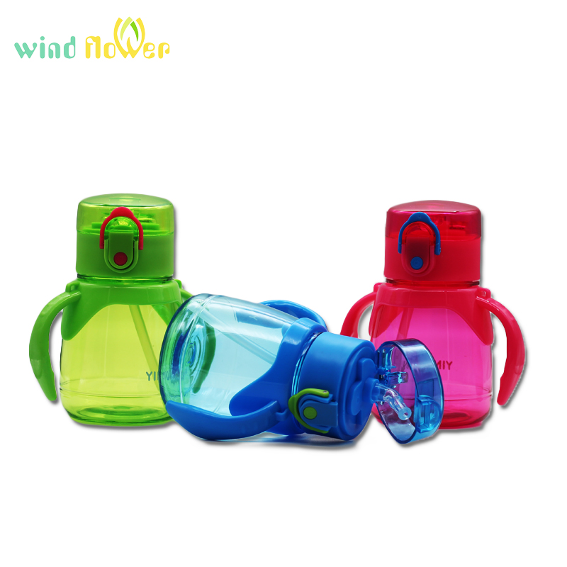 Wind flower 320ml Child Pipette With A Rope To Carry And Strap Handle Plastic Straw And Prevent Leakage Plastic Water Bottle in Water Bottles from Home Garden