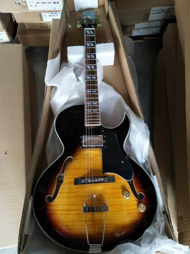 New Arrival Jazz Electric Guitar ES-175 In Sunburst ES175 Semi Hollow ES175 Guitar 170718 wholeslale dave grohl dg335 es 335 6 string electric guitar with great logo es 335 in white 100913