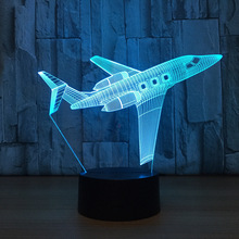 private JET Air Plane USB Desk lamp 3D Lamp light LED 7 Color change 3D Night Light Remote Touch Switct Baby Bedroom Table Lamp