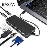 EASYA 8 In 1USB C Hub Multifunction USB Type C Hub With HDMI VGA Display Port