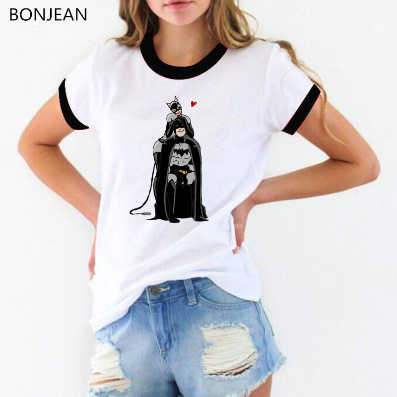 2019 Summer Tops Cartoon Batman and Catwoman T Shirt Women harajuku kawaii t shirt Female white funny t shirt femme streetwear in T Shirts from Women 39 s Clothing