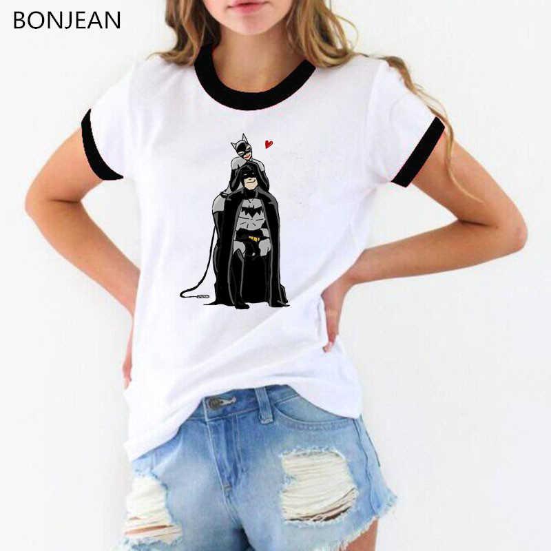 2019 קיץ צמרות קריקטורה באטמן ואשת חתול T חולצת נשים harajuku kawaii חולצה נשי לבן מצחיק פאטאל streetwear