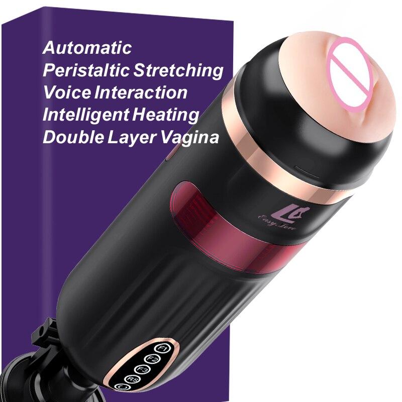 Nouveau Smart Wiggle télescopique mâle masturbateur Interaction vocale chauffage sexe Machine Double couche vagin adulte Sex Toys pour hommes