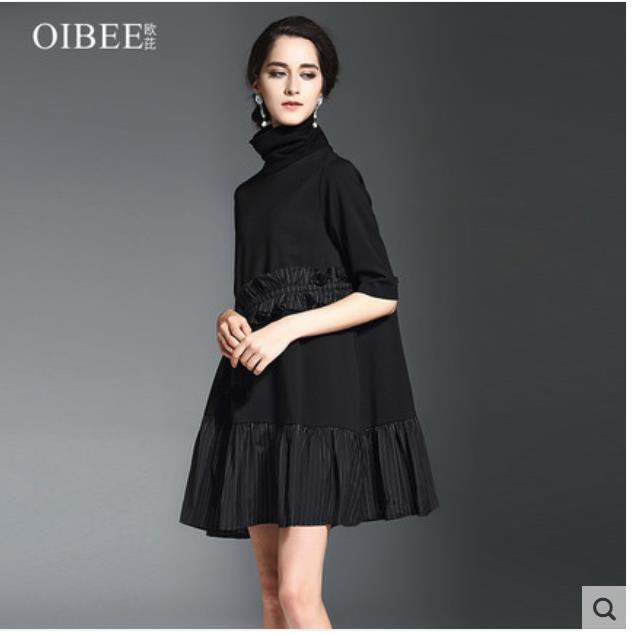 Весна 2018 новая женская одежда с высоким воротником край листа лотоса пять рукав дно стрейч трикотажное платье