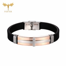 Fashion Rose Gold Cross Bracelets for Women Men Lovers Religious Jesus Jewelry Stainless Steel Silicone Bangle