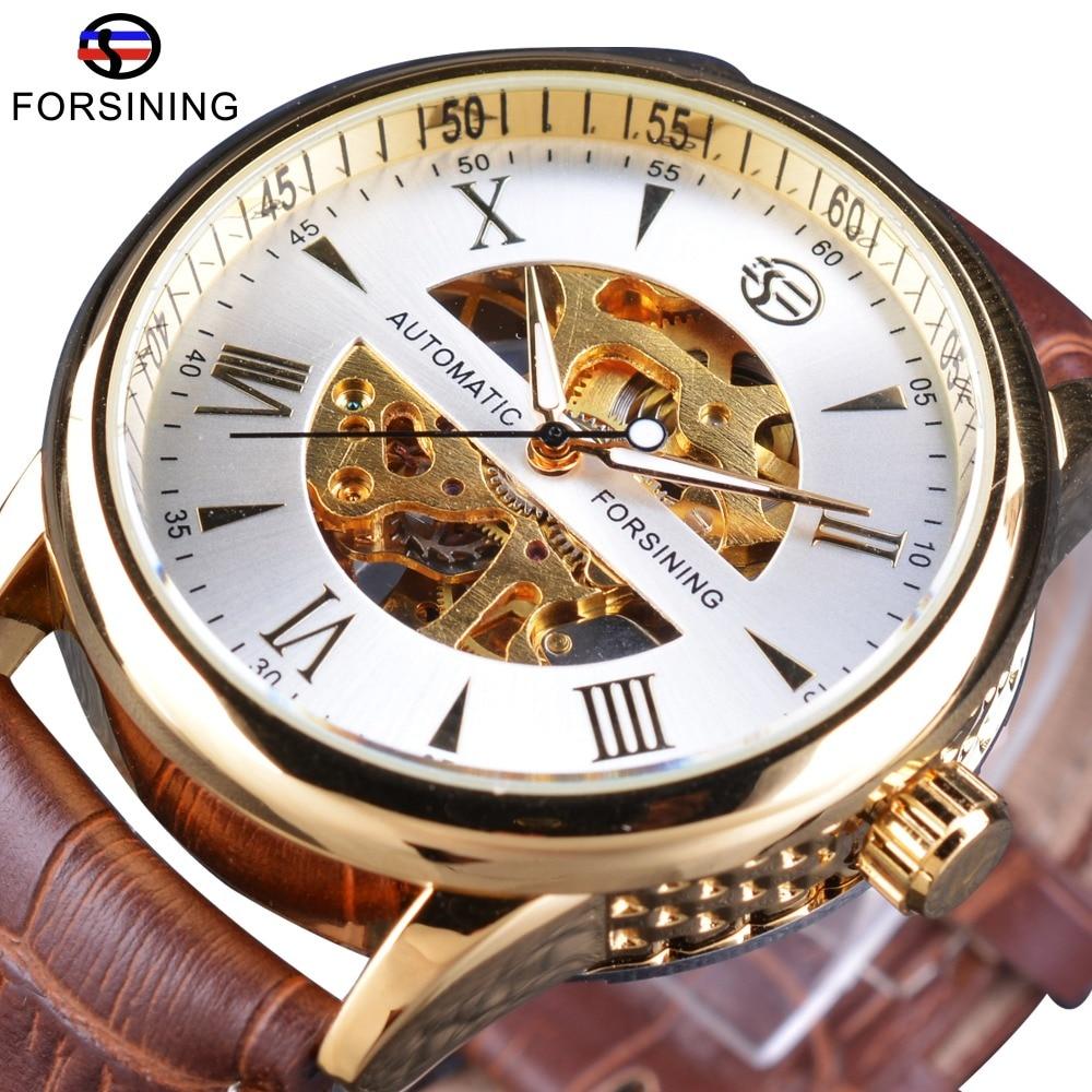 Forsining Men's Watches Fashion White Golden Skeleton Dial Brown Genuine Leather Strap Mechanical Wrist Watches Men Clock все цены