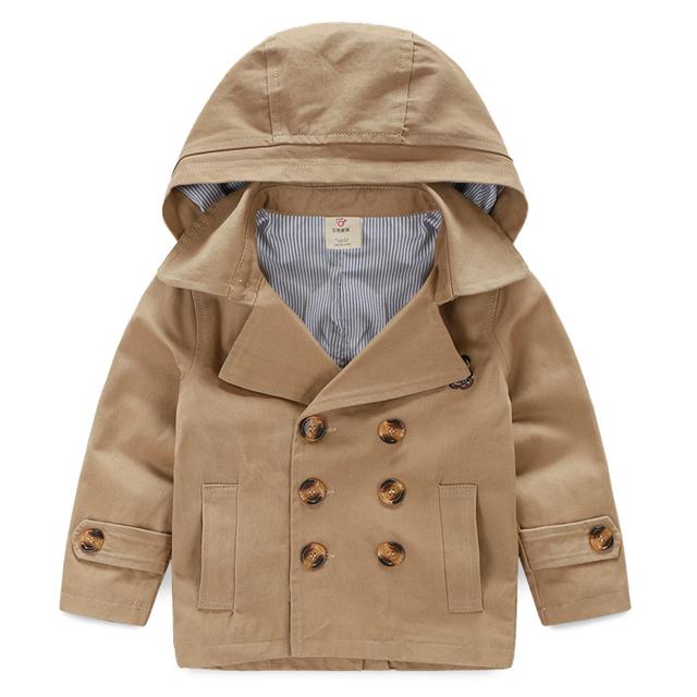 LittleSpring niños del otoño del resorte foso de la manera de manga larga con capucha niños de trinchera abrigo los niños ropa de niño prendas de vestir exteriores superior para 3-9Y
