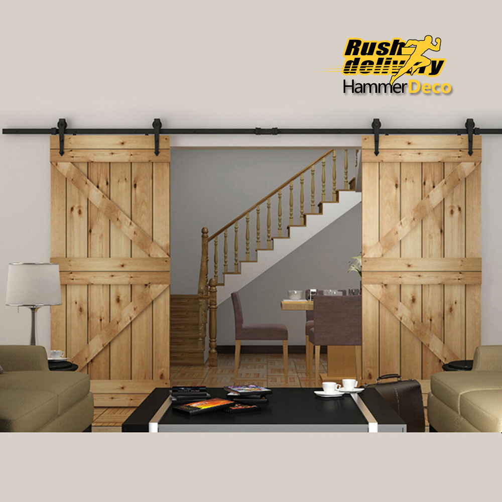 Black Country American Style Arrow Barn Wood Steel Sliding Double Door  Hardware Closet Set 8FT/10FT/12FT/13FT/15FT