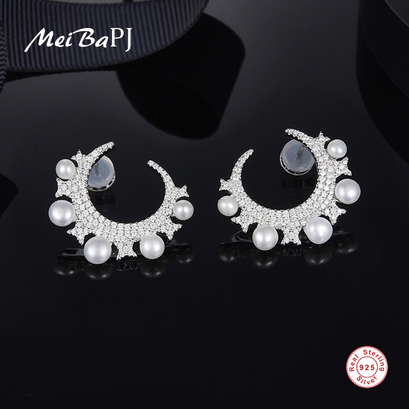 [MeiBaPJ] Real 925 Sterling Silver Fashion Stud Earring Natural Freshwater Pearl Moon Stars Earrings Fine Party Jewelry