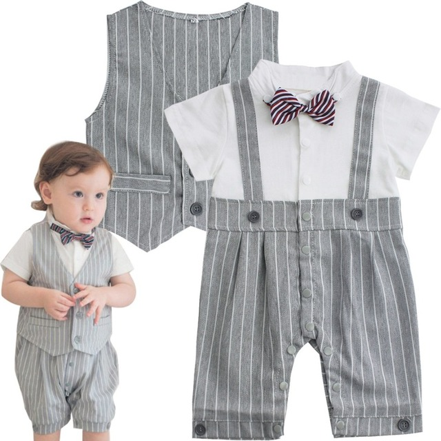 d8d3465c3391 iEFiEL 2Pcs Newborn Baby Boys Gentleman Bow Tie Striped Romper With ...