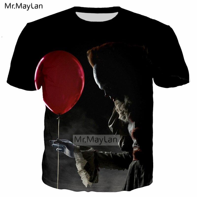 Horror Movie It 3D Print Wise Clown Joker Big Face Balloon Tshirt Men/Women Hip Hop Streetwear Tee T shirt Man Punk Clothes 6XL