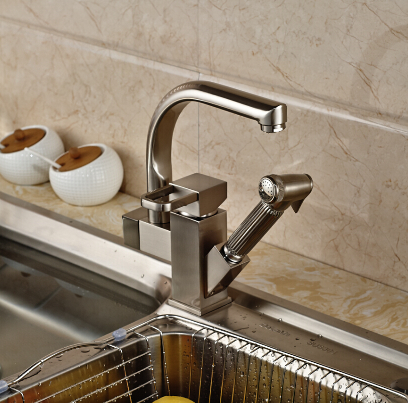 Aliexpress.com : Buy Brushed Nickel Pull out Kitchen Sink Faucet Two ...