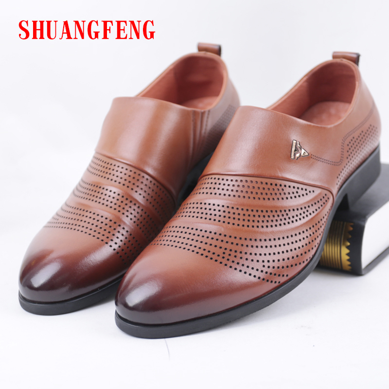 цена на SHUANGFENG Luxury Brand Men's Genuine Leather Shoes Fashion Men Business Dress Loafers Breathable Formal Wedding Shoes for Male