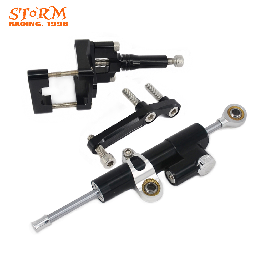 Motorcycle Steering Damper Stabilizer With Mounting Bracket Adapter Set For Kawasaki Ninja 300 Ninja300 2013 2014 2015 2016 for kawasaki motorcycle chain adjuster tensioner autobike chain regulator ninja300 ninja 300 2013 2015 2016 2014