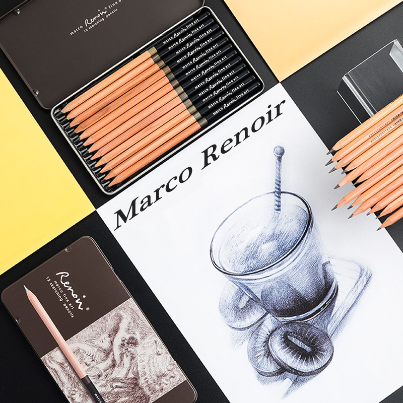 Marco Renoir 3001-12pcs Premium Art Sketching Pencil Set Iron Box Non-toxic Crayon Drawing Pencils Fine School Art SuppliesMarco Renoir 3001-12pcs Premium Art Sketching Pencil Set Iron Box Non-toxic Crayon Drawing Pencils Fine School Art Supplies