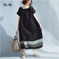 c4a4aac7192 Plus Size Women Clothing 4XL Dresses Summer Cotton Linen Patchwork Large  Size Dress Woman Casual Loose