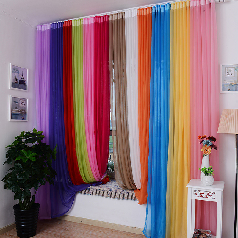 Customizable Hook Pure Solid Tulle Window Screening Sheer Voile Gauze Curtains for Bedroom Living Room Kitchen Dividers Purdah Шторы