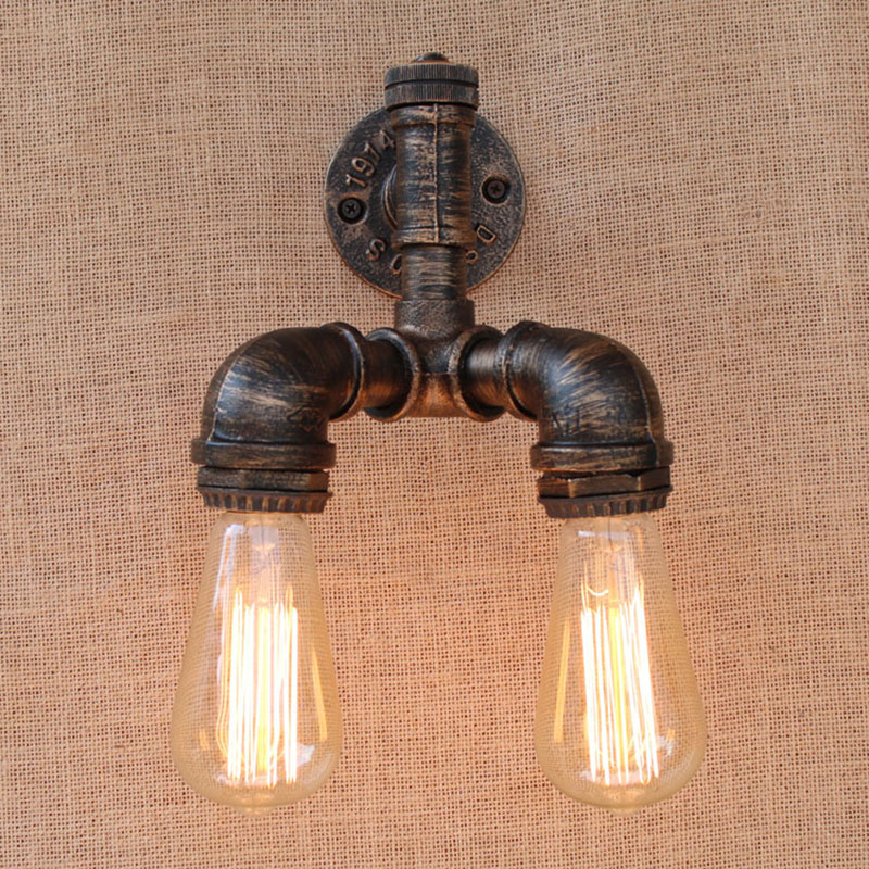 Vintage Retro loft Steampunk Pipe Wall Light with E27 edison bulb/led bulb lights for bedroom bathroom living room bar cafe ...