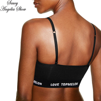 SAUCY ANGELIA Women Sports Bra Sexy Letter Crop Tops Fitness Clothes Femme Stretchy Bodycon Bandage GYM Exercise Active Wear XL