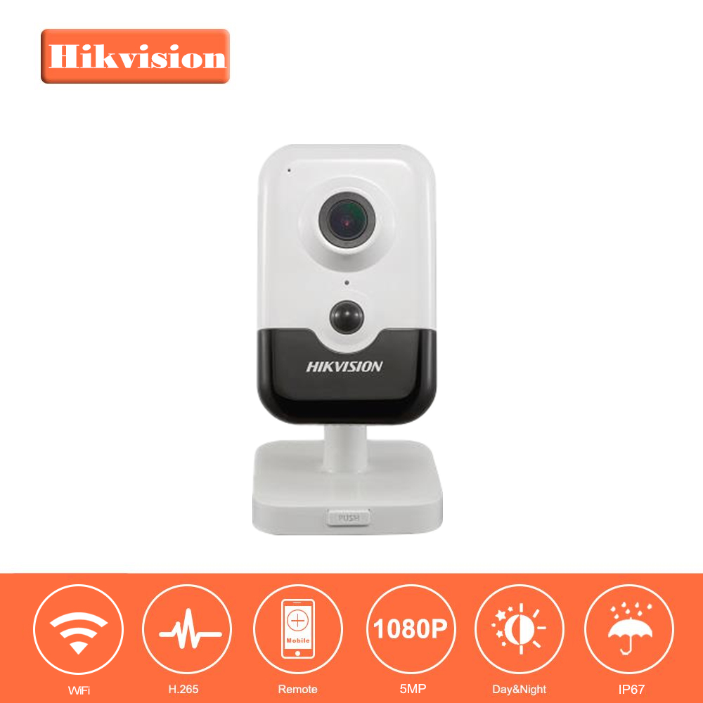 Hikvision Full HD Wireless Home Security Camera DS-2CD2455FWD-IW 5MP EXIR Fixed Cube WiFi Camera Built-in Microphone H.265+ hikvision ds 2cd2442fwd iw wifi camera 4mp ir cube wireless ip camera poe ip camera baby monitor wireless security cam
