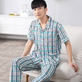 2016 Summer Short Sleeve Men Pajama Sets Turn-Down Collar Cotton Sleepwear Plaid Nightwear Male Homewear 4XL