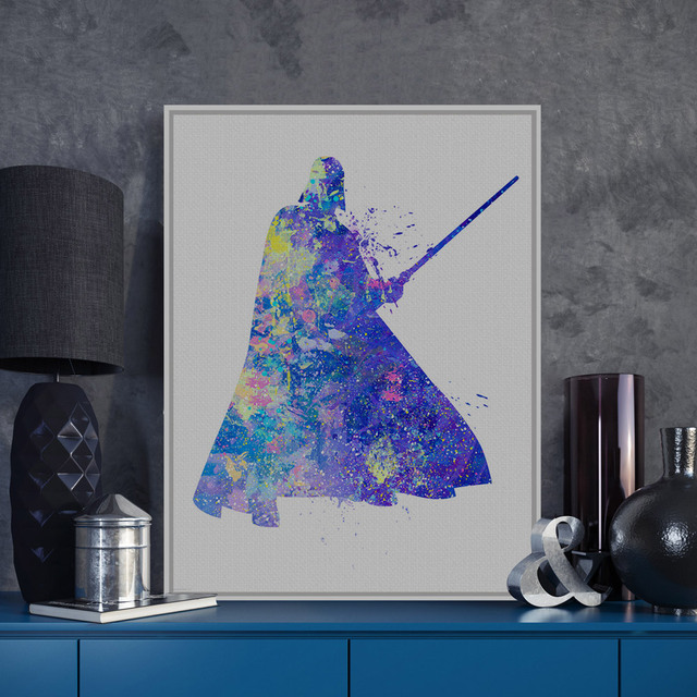 Original Watercolor Star Wars Darth Vader Pop Movie Poster Print Abstract Picture A4 Home Wall Art Canvas Painting No Frame Gift