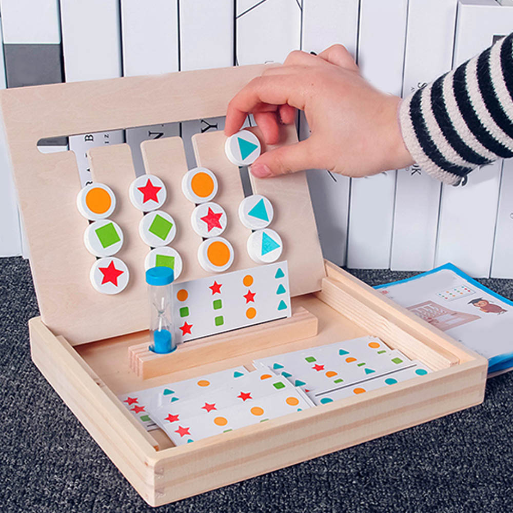 Kids Enlightenment Wooden Toy Game Slide 4-Color Frame Rail Sliding Logic Puzzle Sticker Toys Baby Educational Toys Child Gift