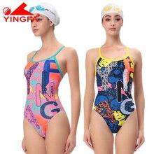 Одна деталь купальник Для женщин купальники YINGFA 623 Купание конкурс Водонепроницаемый хлора устойчивы PBT Материал Для женщин купальники