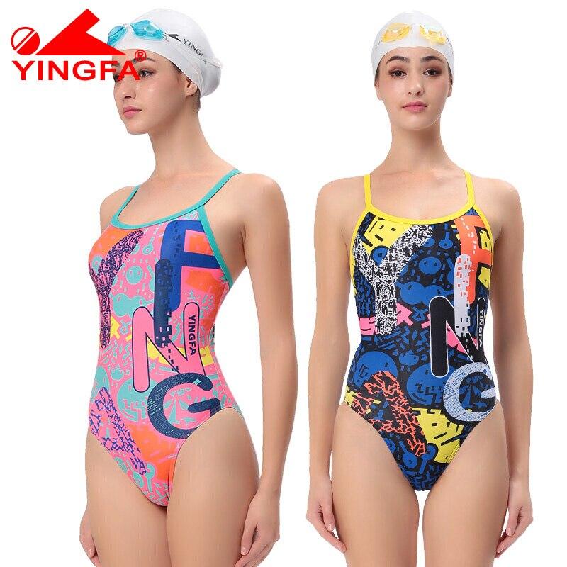 Um Pedaço Swimsuit Mulheres Swimwear YINGFA 623 Competição de Natação À Prova D' Água Material de PBT Resistente Ao Cloro Swimwear das Mulheres