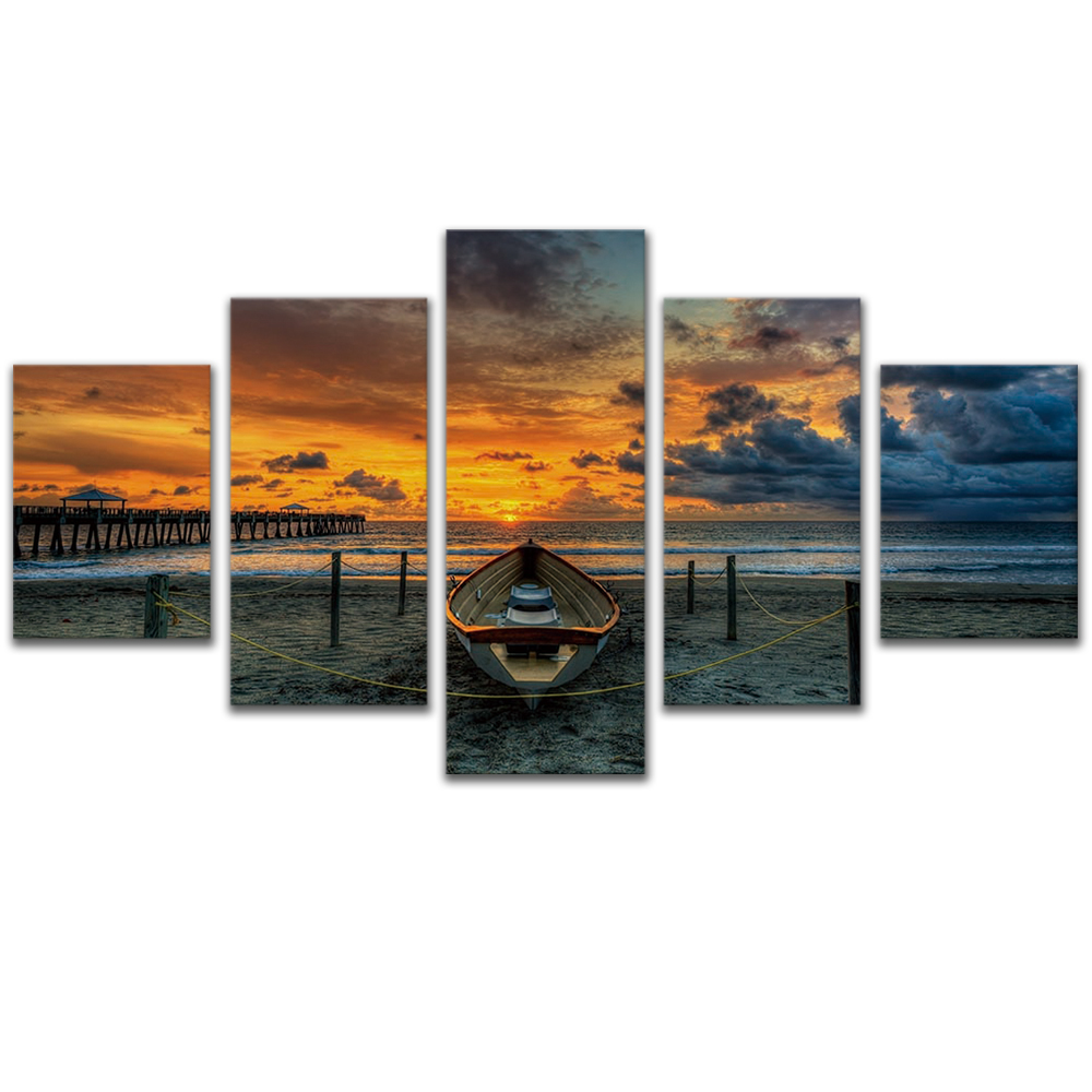 Unframed 5 HD Canvas Prints Sunset Beach Giclee Modular Picture Prints Wall Pictures For Living Room Wall Art Decoration