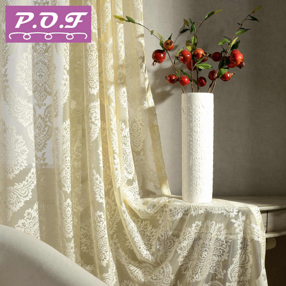 P.O.F Luxury Decorative Voile Curtain Tassel Drape for Living Room Window Curtain Sheer Tulle White Color Ready Made