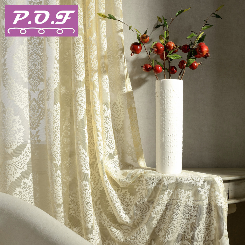 P O F Luxury Decorative Voile Curtain Tel Drape For Living Room Window Sheer Tulle White Color
