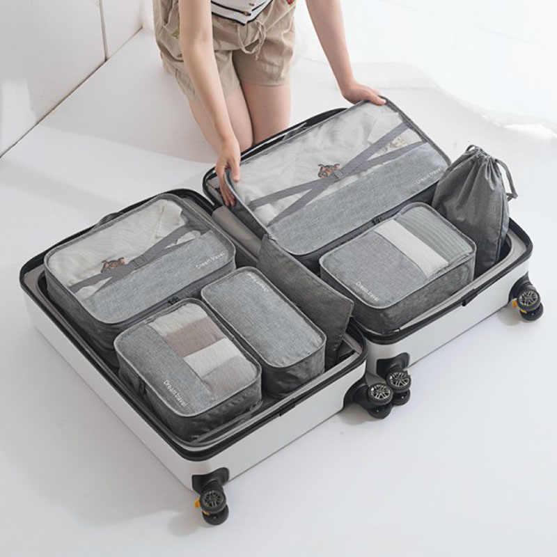 High-grade 7 pçs/set Mala Organizador Koffer Sets Organizador Bagagem Organizador Lavanderia Bolsa Embalagem Conjunto de Saco De Armazenamento para a Roupa