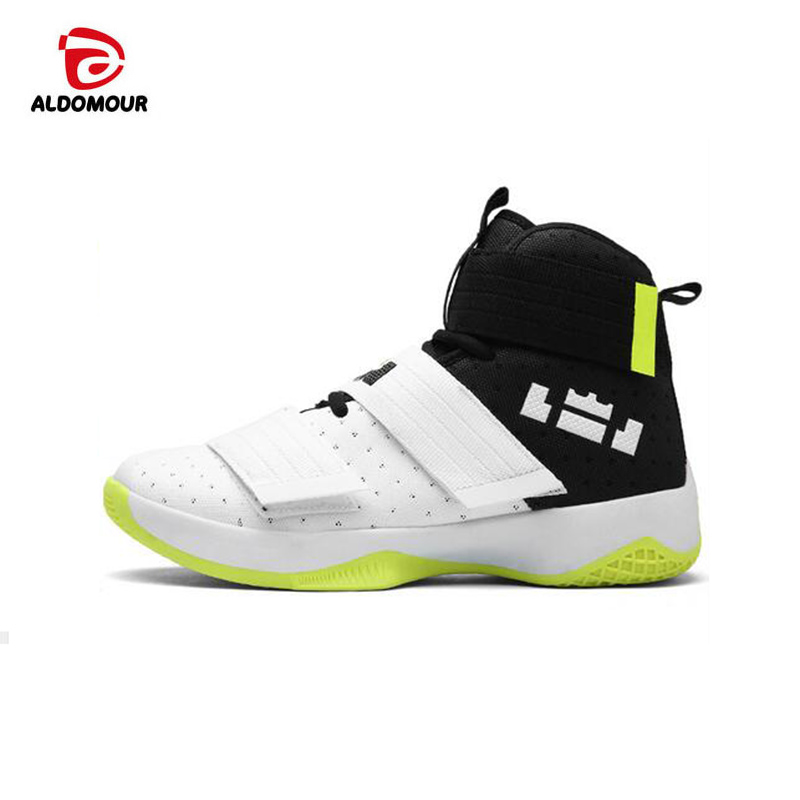 ALDOMOUR 2017 Men's High Quality Sneakers White Black PU Basketball Boots outdoor Basketball Shoes Shoes Tenis De Basquete kelme children white black smooth soccer shoes pu broken nail outdoor running sneakers k15s936