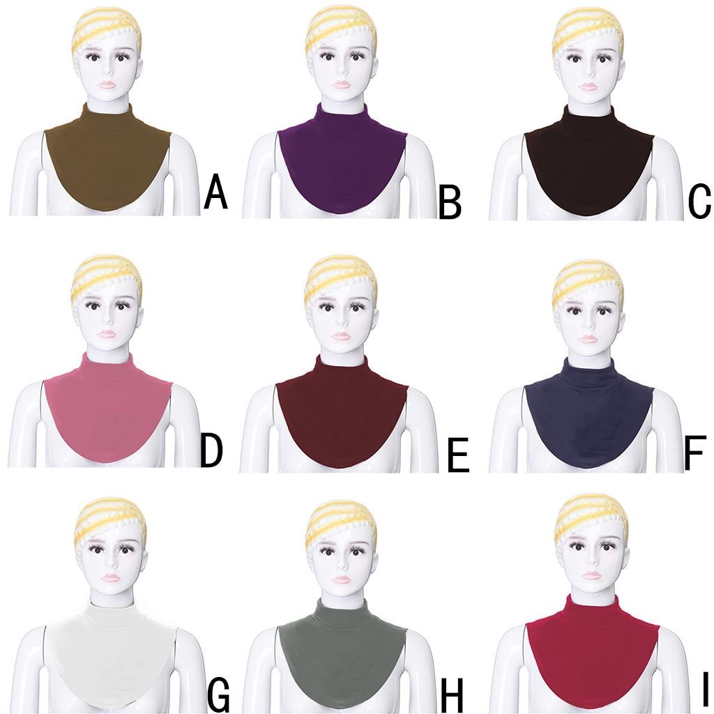 Womens False Collar Modal Hijab Moslem Islamic Pure Color Neck Cover Loop Scarf Fake Turtleneck T-shirt A0412