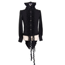 2017Spring Fashion  Gothic male shirts Black leisure stand-up collar tops with Lace trim  SHT003