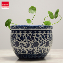 Special offer of Jingdezhen Ceramics Chinese gardening creative personality blue and white Narcissus grass hydroponic flowerp