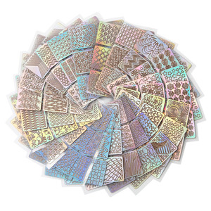 Image 4 - 12 ورقة جديد مسمار غير النظامية شبكة Stencil قابلة لإعادة الاستخدام مانيكير ملصقات ختم قالب مسمار أدوات الرسم هالوين 9.8