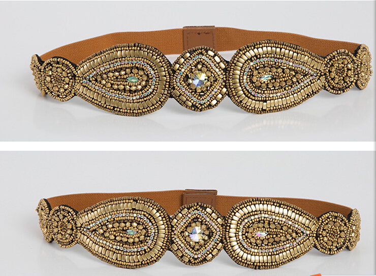 Metting Joura Vintage Bohemian Ethnic Brown Seed Beads Braided Knitted Flower Handmade Elastic Belt Body Jewelry vintage bohemian ethnic colored tube seed beads flower rhinestone handmade elastic headband hair band hair accessories