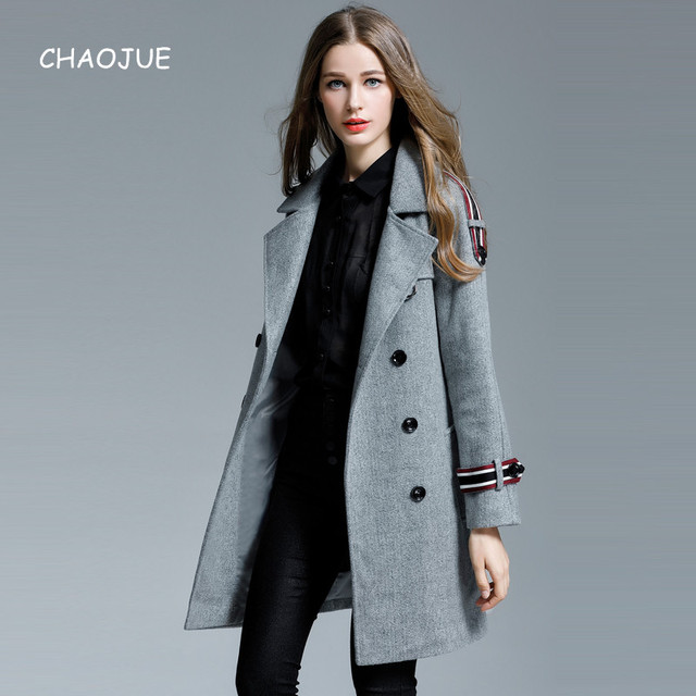 e7e5b2a5b79 CHAOJUE Brand Womens Wool Coat 2018 Autumn Winter Loose Long Sleeve Woolen  Jacket Big Size Loose Causal Pea Coat Sales