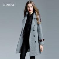 CHAOJUE Brand Womens Wool Coat 2018 Autumn/Winter Loose Long Sleeve Woolen Jacket Big Size Loose Causal Pea Coat Sales