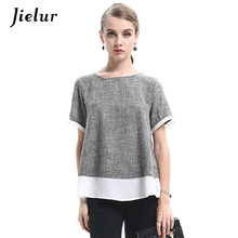 Jielur 2019 Summer Chiffon Patchwork Short-sleeved Women T-shirts New Loose O-neck Casual Personality Top L-4XL Girl's Camisetas(China)