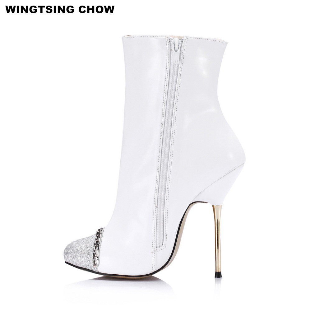 Big Size 36-43 New Autumn Winter Patent Leather Women Boots Fashion White High Heels Ankle Boots Thin Heel Women Pumps amazing designer booties patent leather patchwork ankle boots chinel high heels zipper autumn motorcycle boots for women pumps