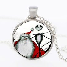 Boys Girls Santa Skull Painting Necklace Pendant Statement Glass Cabochon Necklaces For Christmas Gift(China)