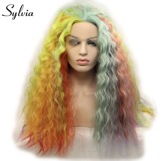 sylvia multicolour mixed synthetic long deep wave colorful rainbow ...
