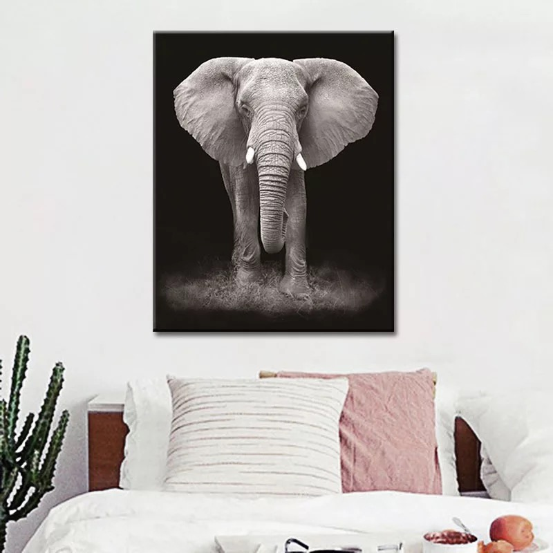 Nordic Poster Black and White African Alephant Paintings Top Selling Animal Canvas Painting Wall Art Picture african elephant