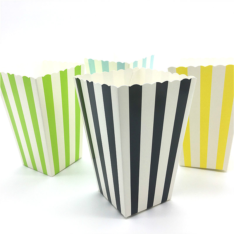12pcs Stripe Pattern Folding Snack Candy Popcorn Boxes Favor Bags Paper Birthday Party Wedding Gift Bag Hot Sale
